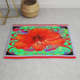 Italian  Style Design Red Amaryllis Abstract Rug