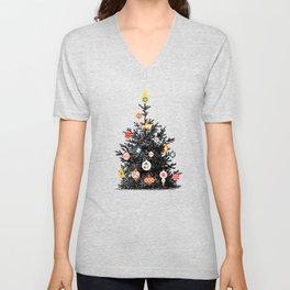 Retro Decorated Christmas Tree Unisex V-Neck