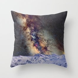 The star Antares, Scorpius and Sagitariuss over the hight mountains. The milky way. Throw Pillow