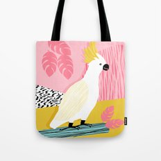 FeelFree - memphis throwback retro bird tropical nature animal parrot cockatoo 1980s 80s pop art Tote Bag