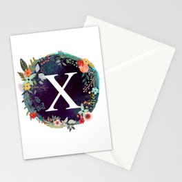 Personalized Monogram Initial Letter X Floral Wreath Artwork Stationery Cards