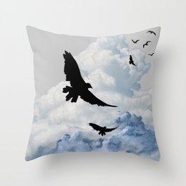 BLACK CROWS IN CLOUDY SKIES ART Throw Pillow