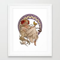 mucha Framed Art Prints featuring Mucha Homage by Muy-Mal