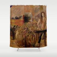jazz Shower Curtains featuring jazz by angelprint