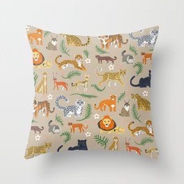 Exotic Cats Throw Pillow