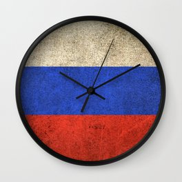 Old and Worn Distressed Vintage Flag of Russia Wall Clock