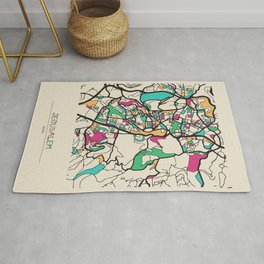 Colorful City Maps: Jerusalem, Israel Rug