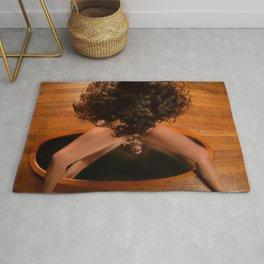 6171-KD Nude Art Model Sitting On Mirror Looking Down Rug