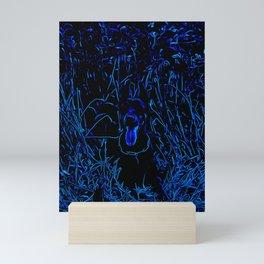 doberman dog red flowers meadow vector art blue conturs Mini Art Print