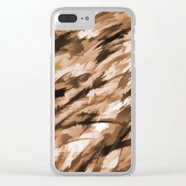 Beige Designer Camo Clear iPhone Case
