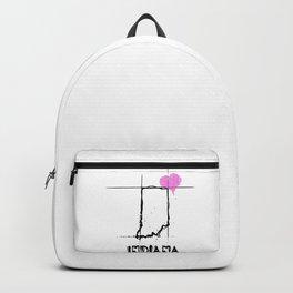 Love Indiana State Sketch  USA Black Art  Design Backpack