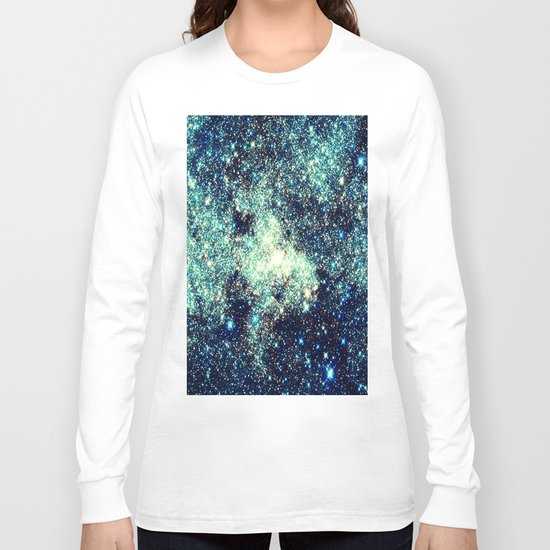 gAlAxY Stars Teal Turquoise Blue Long Sleeve T-shirt