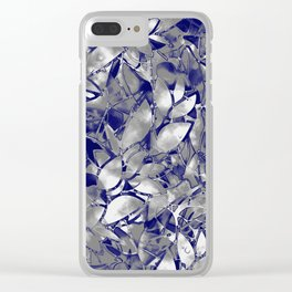 Grunge Art Silver Floral Abstract G169 Clear iPhone Case