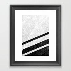 White Striped Marble Framed Art Print