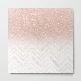 Modern faux rose gold glitter ombre modern chevron stitches pattern Metal Print
