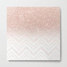 Modern faux rose gold glitter ombre modern chevron stitches pattern Metal Print