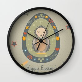 Festive Easter Egg with Cute Character Wall Clock
