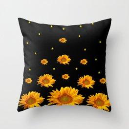 GOLDEN STARS YELLOW SUNFLOWERS  BLACK COLOR Throw Pillow