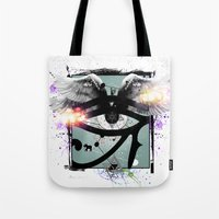 all seeing eye Tote Bags featuring All Seeing Eye by Cody Norris
