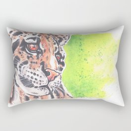Wild Cat Cloud Leopard Watercolor painting Rectangular Pillow