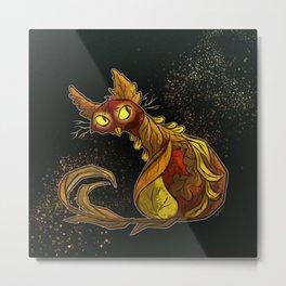 Fall Feline Metal Print