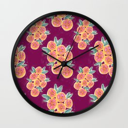 Crimson Lemons Wall Clock