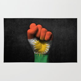 Kurdish Flag on a Raised Clenched Fist Rug