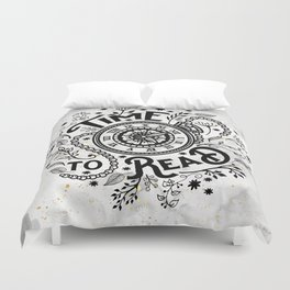 Time to Read - Black Duvet Cover