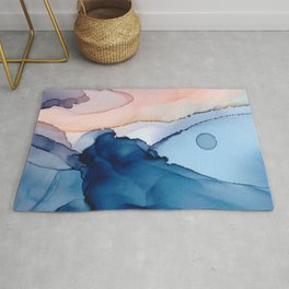 Saphire soft abstract watercolor fluid ink painting Rug