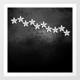 Spectacular silver flowers on black grunge texture Art Print