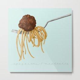 Spaghetti and Meatball Illustration by Deb Jeffrey Metal Print