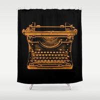 typewriter Shower Curtains featuring Typewriter by Jessica Slater Design & Illustration