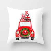 craftberrybush Throw Pillows featuring Red Christmas Car - white  by craftberrybush