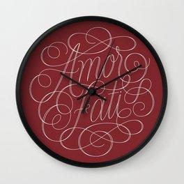 Amor Fati Red Wall Clock