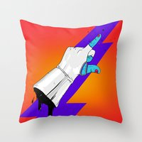 master chief Throw Pillows featuring Space Chief by Dzohn