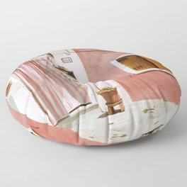Sunny pink house Floor Pillow