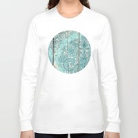 botanical Long Sleeve T-shirts featuring Teal & Aqua Botanical Doodle on Weathered Wood by micklyn