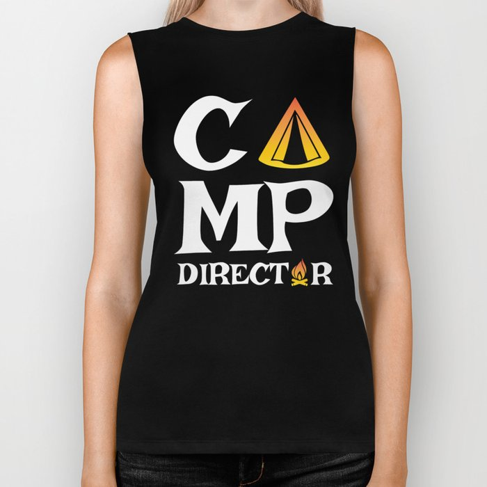 Funny Camp Director Gift for Camp Directors  | Summer Camp, Scouting and Campsite Fun Biker Tank
