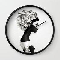 rome Wall Clocks featuring Marianna - Ruben Ireland & Jenny Liz Rome  by Jenny Liz Rome