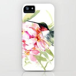 Hummingbird and Plumeria Flowers iPhone Case