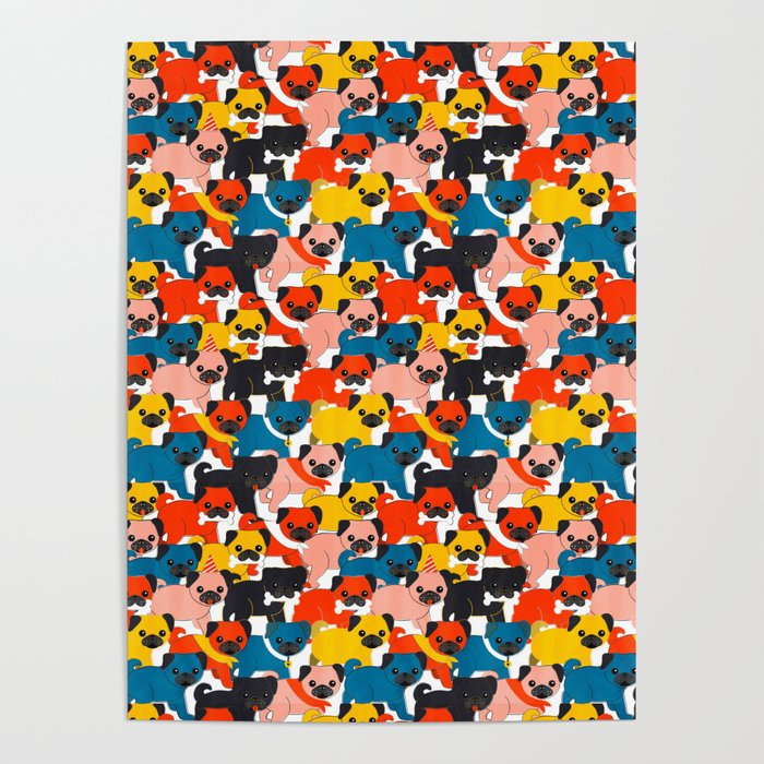 COLORED PUGS PATTERN no2 Poster