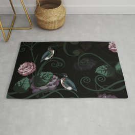 Hummingbird Vines Dark Floral Rug