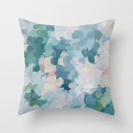 Mint Green Sky Blue Teal Blush Pink Abstract Nature Flower Wall Art, Spring Blossom Painting Throw Pillow