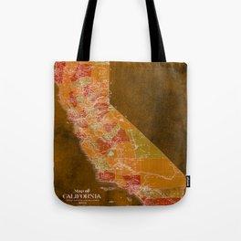California Los Angeles old vintage map. Orange vintage poster for office decoration Tote Bag