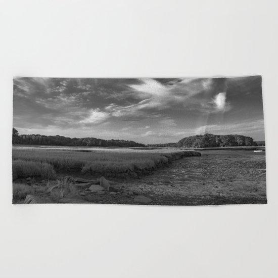 Sky and Marsh Black and white Beach Towel