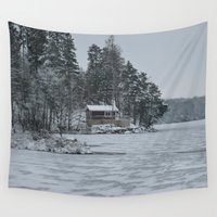 cabin Wall Tapestries featuring Red Cabin by Accessorius