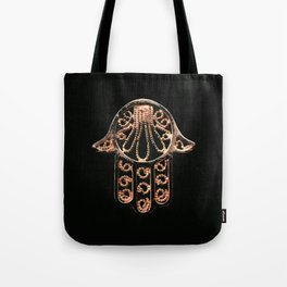 Golden Hamsa Hand On A Black Background #decor #society6 Tote Bag