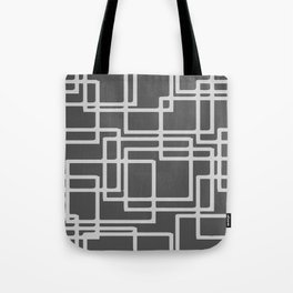 Retro Modern Blanched Slate Rectangles On Storm Grey Tote Bag