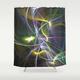 The Curves of Symbiotic Frequencies Traveling To Their Respective Destinations Only Compressed Shower Curtain