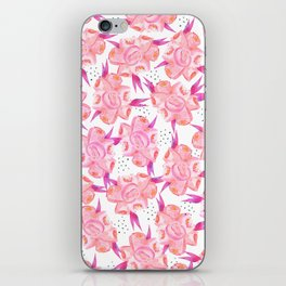 Hand painted pink coral black watercolor floral iPhone Skin